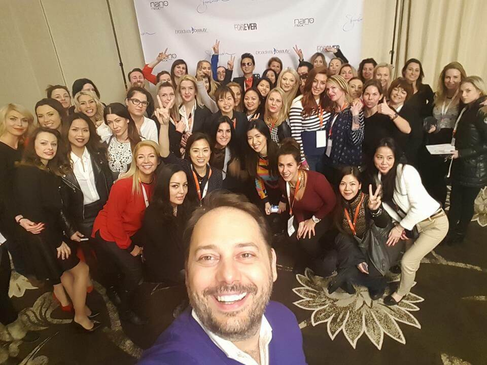 Selfie with Branko Babic, Lindsey Ta, and microblading artists from all over the world at the World of Microblading Championship